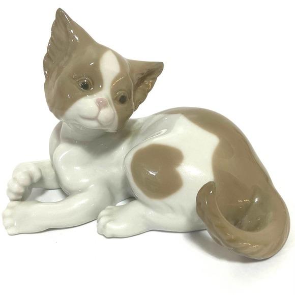 1981 Lladro Spain Porcelain Cat Brown White